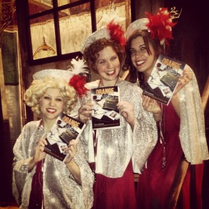 The lovely Boylan Sisters, checking out the Orange Karen Anthology. (Karen is in the middle.)