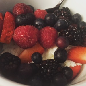 With mixed berries (and ricotta on the bottom)